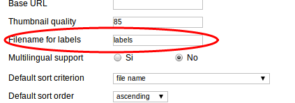 Field Filename for lables